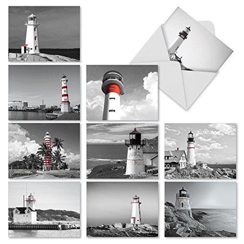 10 'Red Beacons' Lighthouse Thank You Greeting Cards 4 x 5.12 inch - Modern Greeting Cards for Weddings, Baby Showers, or Holidays - Boxed All-Occasion Stationery Note Card Set (w/ Envelopes) M1707TY