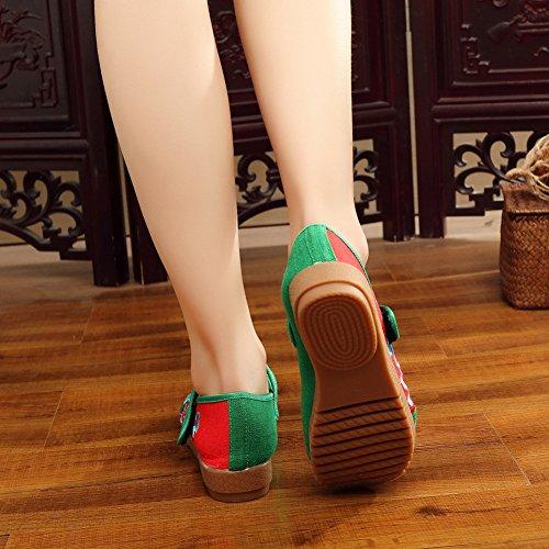 con Bailarinas Para Alpargatas Rojo Verde Mary Correa Mujer Zapatos Insun Jane PFEwnSUST