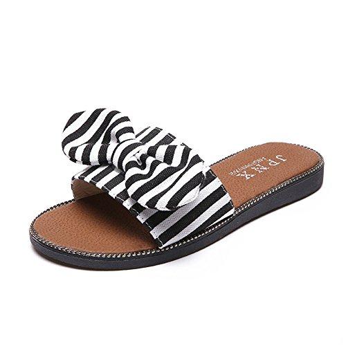 Womens Bow Thong Fabric Denim Summer Beach Flip Flop Flat Sandal Summer Beach Slippers (Black 37/6.5 B(M) US Women) ()