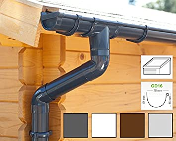 1 Dachseite Komplettes Set bis 8.75 m, Braun wei/ß in anthrazit Dachrinnen//Regenrinnen Set braun oder schwarz!   Extra100 Pultdach