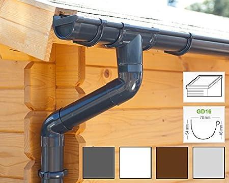 Dachrinnen//Regenrinnen Set | GD16 1 Dachseite in 4 Farben! Komplettes Set bis 3.50 m, Braun Pultdach