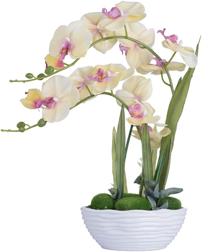 Yellow Artificial Orchid Arrangement with Ceramic Vase