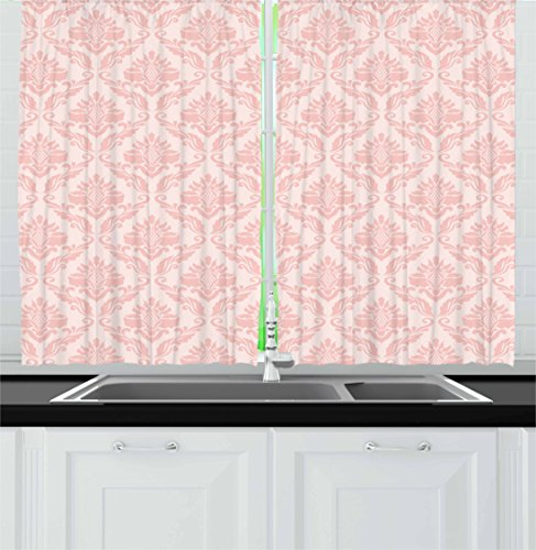 Lunarable Blush Kitchen Curtains, Damask Motif Retro Design of Floral Pattern with Swirling Petals and Branches, Window Drapes 2 Panel Set for Kitchen Cafe, 55 W X 39 L Inches, White Pale Pink Review
