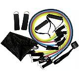 Triecoworld fasce di resistenza bande di resistenza, esercizi, fitness set con 5tubi di fitness/manici/cinghie di ancoraggio per porta/caviglia/astuccio per il trasporto/workout guide, migliore per uomo, donna