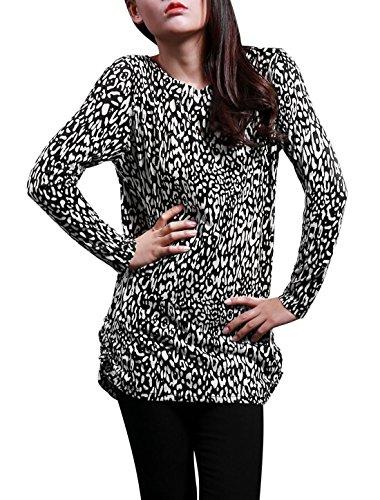 Allegra K Femme Manches Longues Sur Tous Imprimé Léopard Tunique Tricot Chemise - Femme, noir,blanc, EU 32 / X-Small