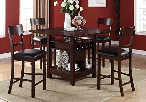 1PerfectChoice 5 Pcs Counter Height Dining Set Built-in Lazy Susan Table Wine Storage Chairs
