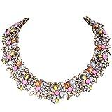 art deco style EVER FAITH Vintage Style Art Deco Statement Necklace Austrian Crystal Gold-Tone Pink Multicolor