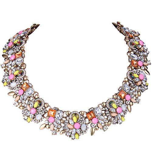 EVER FAITH Vintage Style Art Deco Statement Necklace Austrian Crystal Gold-Tone Pink Multicolor