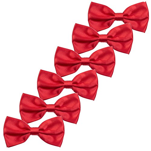 Boys Children Formal Bow Ties - 6 Pack of Solid Color Adjustable Pre Tied Bowties (Red)