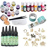 150ml UV Crystal Clear Epoxy Resin + 17 Open Back Bezels Molds Pendants Charms + 2 Tapes + 13 Color Pigments + 12 Glitters Powders Mixing Iridescent Flakes Ultra-thin Sequins + Mini UV Lamp + Tweezers