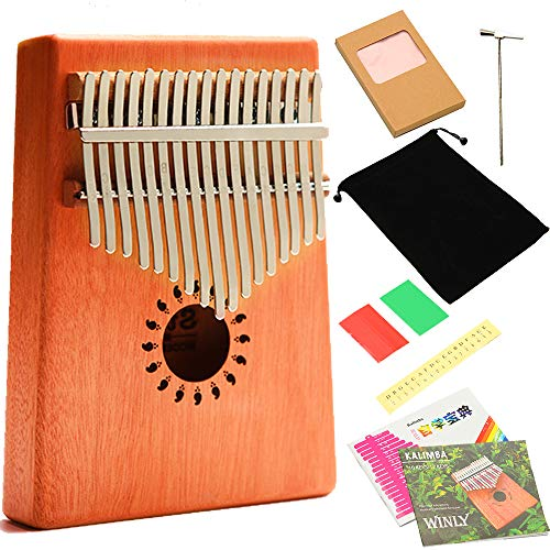 Kalimba Thumb Piano 17 Keys for Beginners Mahogany Finger Piano African Instrument with Instruction Tune Hammer Musical Sticker suitable for Birthday Gift (Footprint)