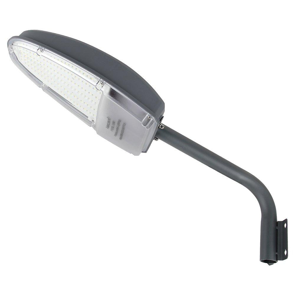 Kecent 30W LED Street Area Lighting 3000lm 6500K Outdoor Waterproof Yard Light or Barn Light Security Light Cool White Floodlight Wall Post Lights (Grey)