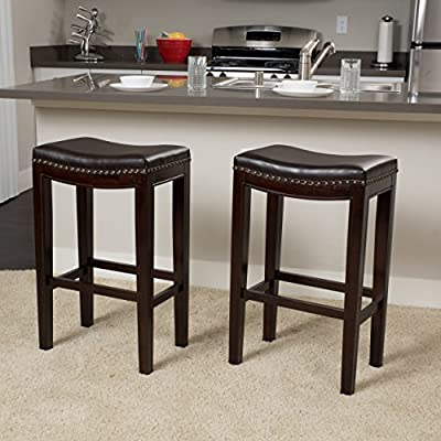 Jaeden Backless Leather Barstools (Set of 2)