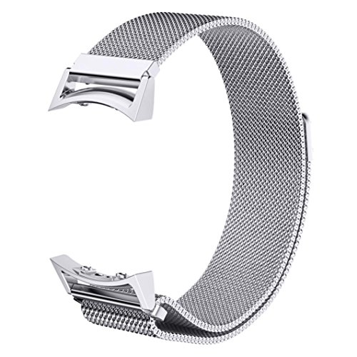V-Moro Accessories Stainless Steel Milanese Loop Magnetic Band with Adapters for Samsung Galaxy Gear S2 Smart Watch SM-R720 R730 Silver Large 6.7-9.5 inches