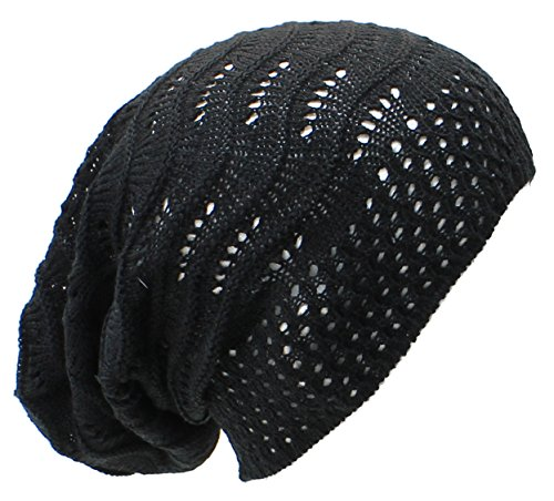 - Accessory Necessary an- Fashion Lightweight Slouchy Airy Cutout Knit Beanie Hat Cap, Many Styles (Black Wave)