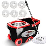 Tsmine 360 Spin Mop with Stainless Steel Bucket System, Deluxe Magic Spinning Mop