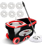 Spin Mop Bucket Floor Cleaning - Tsmine Mop and Bucket with Wringer Set Commercial Spinning Moppi...