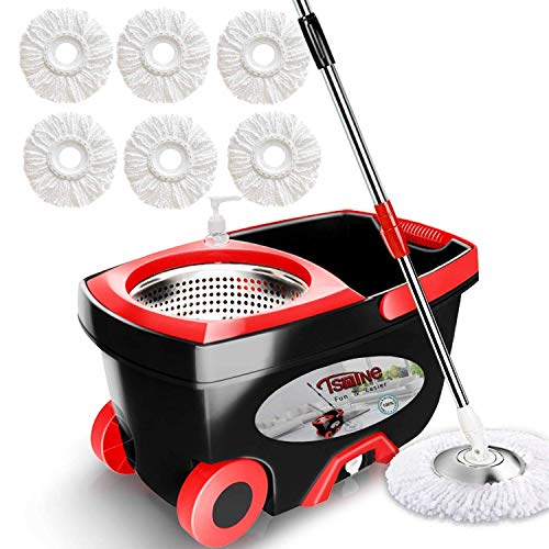 Tsmine Spin Mop Bucket Floor Cleaning Supplies System with Wringer , Stainless Steel Spinning Mop with Wheels , Extend 61