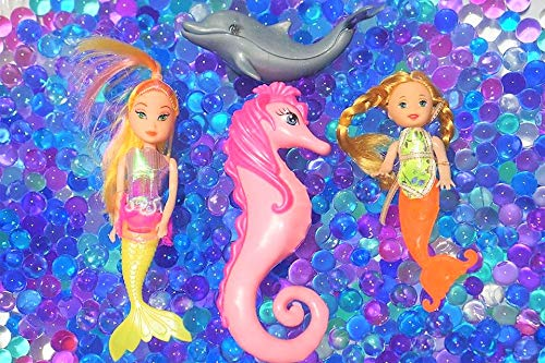 SENSORY4U Dew Drops Ocean Water Beads Mermaid Lagoon Tactile Sensory Toys Bin Kit - Mermaids Seahorse and Dolphin Toy Animals Included