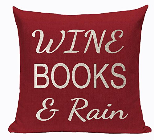 Queen's designer Book Lover Library Reading Book Club Wine Books And Rain Cotton Linen Decorative Throw Pillow Case Cushion Cover Square 18