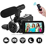 "SEREE Camcorder Full HD 1080P 30FPS Vlogging Camera with Remote Control Wi-Fi IR Night Vision 3"" LCD Touch Screen Digital Video Camera with External Microphone"