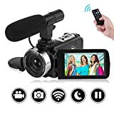 """SEREE Camcorder Full HD 1080P 30FPS Vlogging Camera with Remote Control Wi-Fi IR Night Vision 3"""" LCD Touch Screen Digital Video Camera with External Microphone"""