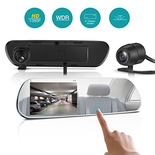 TryAce T9P 4'' IPS Screen FHD 1080P Backup Camera Dash Cam Front and Rear Dual Channel with Rear View Reversing Camera