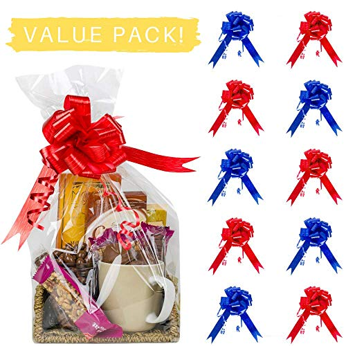 Cellophane Wrap Bags by Yogi Wraps – 10-Piece Set Clear Basket and Gifts Wraps – Red and Blue Ribbons Included – 27.5 Inch x 39.3 Inch – Ideal for Wrapping Gifts, Baskets, Arts and Crafts