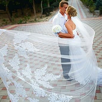 CLOCOLOR voile longue de mari/¨/¦e en dentelles et appliques des mariages cath/¨/¦drals avec une peigne