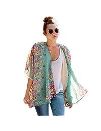 Coromose Summer Boho Floral Printed Chiffon Shawl Kimono Cardigan Tops
