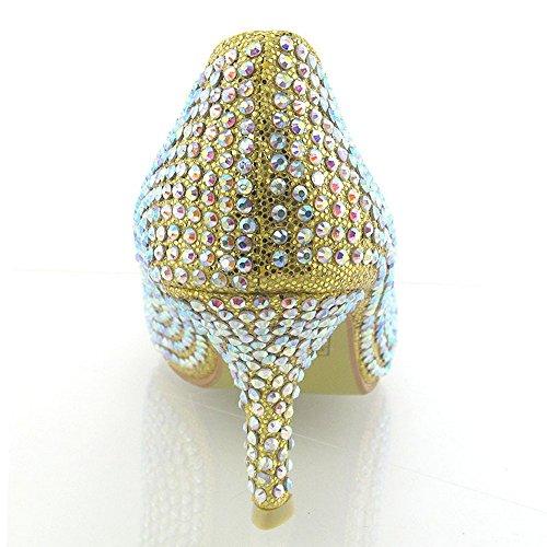 Essex Glam Kvinna Brud Klackar Satin Diamante Flimrigt Låg Klack Plattform Halka På Domstols Skor Guld Glitter