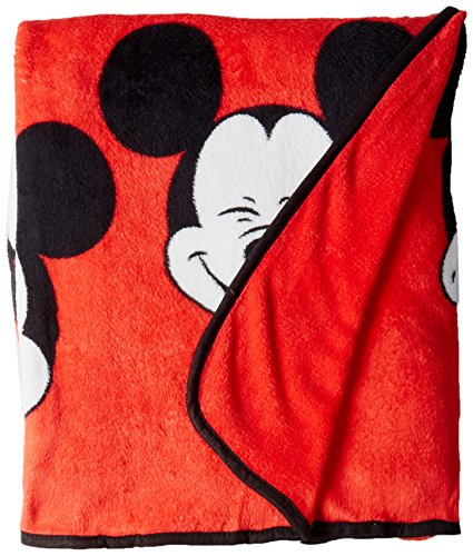 "Jay Franco Disney Mickey Mouse Faces 62"" x 90"" Plush Twin Bl"