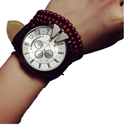 Diamond White Leather Watch (Creazy® Fashion Luxury Mens Analog Sport Steel Case Quartz Leather Wrist Watch (White))
