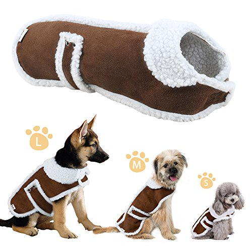 EocuSun Pet Clothes for Dogs Winter Coat Cat Dog Vest Warm Jacket Apparel Shearling Fleece Cold Weather Coats for Medium Large Dogs Cats Puppy with Furry Collar by, Brown L by EocuSun (Image #1)