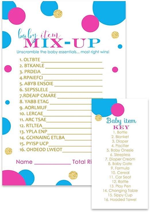 Baby Scramble Word Jumble Game Baby Shower Pink Girl Blue Boy Green Neutral