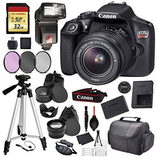 Canon EOS Rebel T6 Digital SLR Camera with EF-S 18-55mm f/3.5-5.6 DC III Lens Kit (Black) Professional Accessory Bundle Package Deal Includes: 32gb SD Card + DSLR Bag + 57″ Tripod + More