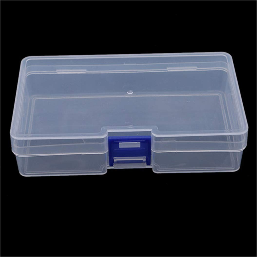 LZIYAN Rectangular Nail Storage Box Clear Transparent Nail Art Beads Organizer Display Box Container For Jewelry Rings,Blue buckle by LZIYAN (Image #3)