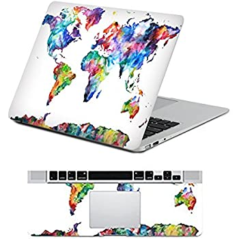 Amazon vati leaves removable colorful world map protective full icasso protective full cover vinyl art skin decal sticker cover for apple macbook air 133 gumiabroncs Images
