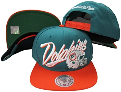 Miami Dolphins Diagonal Script Aqua/Orange Two Tone Adjustable Snapback Hat / Cap