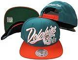 Miami Dolphins Diagonal Script Aqua/Orange Two Tone Adjustable Snapback Hat / Cap