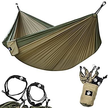 Legit Camping 210T Nylon Double Hammock with Straps, Steel Carabiners, Stuff Sack and Rope