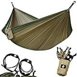 Legit Camping - Double Hammock - Lightweight Parachute Portable Hammocks for Hiking, Travel, Backpacking, Beach, Yard Gear Includes Nylon Straps & Steel Carabiners (Army Green/Khaki)