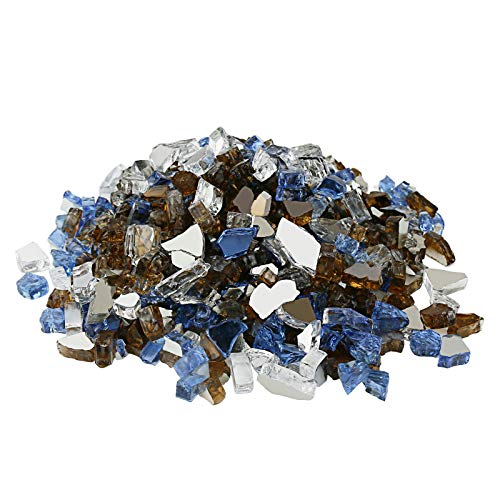 Hisencn Blended Fire Glass For Fire pit, 10 Pound, 1/2 Inch Tempered Glass Rocks for Natural or Propane Gas Fireplace, Indoor & Outdoor Fire Bowls, Landscape, Copper, Pacific Blue, Platinum Reflective