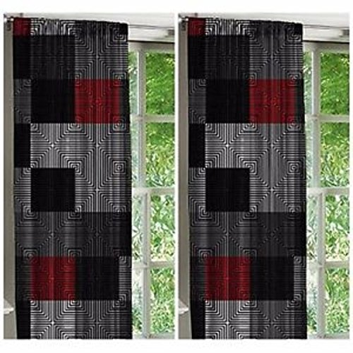 Stylish Latitude Geometric Design 52x63 Window Curtains, Set of - Emoji Falcon
