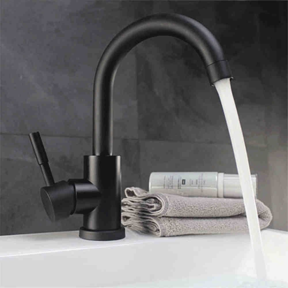 SADASD Bathroom Basin Faucet Copper Stainless Steel High-Bend Black Paint Single-Connected Quick-Opening Basin Sink Mixer Taps Hot and Cold Mixer Tap With G1 2 Hose