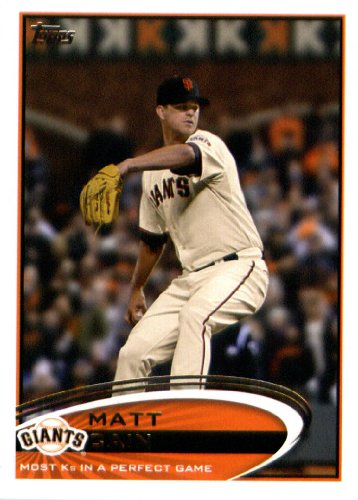 2012 Topps Update Series Baseball Card # US211 Matt Cain Perfect Game Record Checklist San Francisco Giants