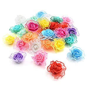 Fake flower heads in bulk wholesale for Crafts Mini Foam Rose Artificial Flowers for Home Wedding Car Decoration Party Home Decor Pompom Wreath Decorative Bridal Fake Flower 4.5cm 30pcs (Colorful) 27