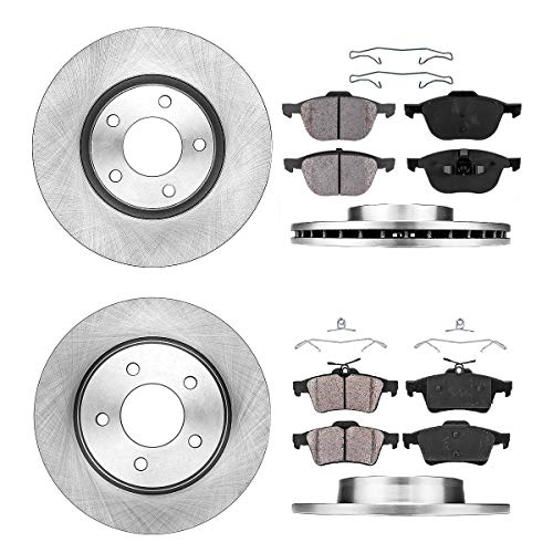 [ S / SP23 ] FRONT 299.8 mm + REAR 279.8 mm Premium OE 5 Lug [4] Rotors + [8] Quiet Low Dust Ceramic Brake Pads + Clips