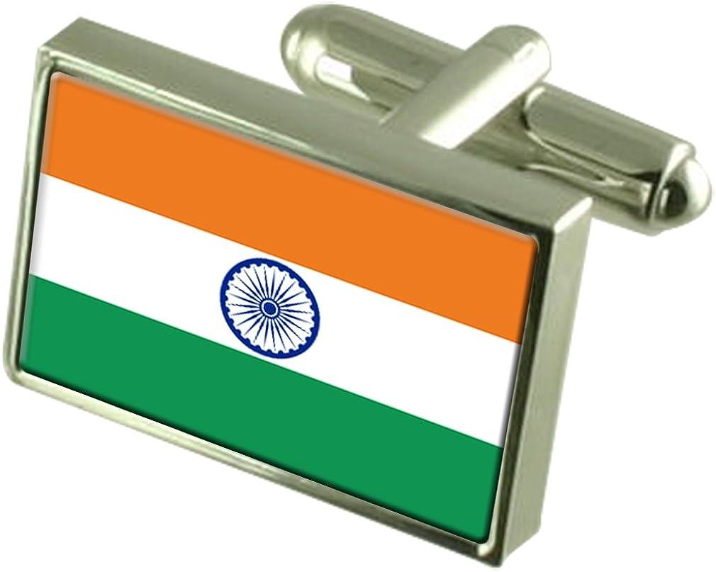 Select Gifts India Flag Cufflinks Personalised Engraved Keepsake Box