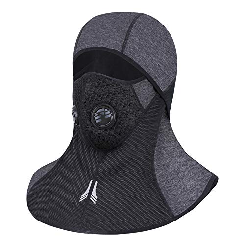 Innens Windproof Ski Mask Face Masks, Men Women Warm Hood Winter Helmet Thermal Fleece Skiing Masks for Cold Cycling Skiing Motorcycle Snowboard (with Zipper and Breathable Vents - Gray) -